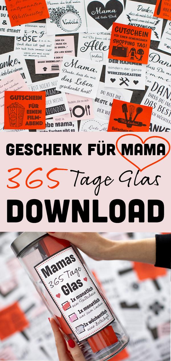 365 Tage Glas Mama Download Datei geschenk zum muttertag