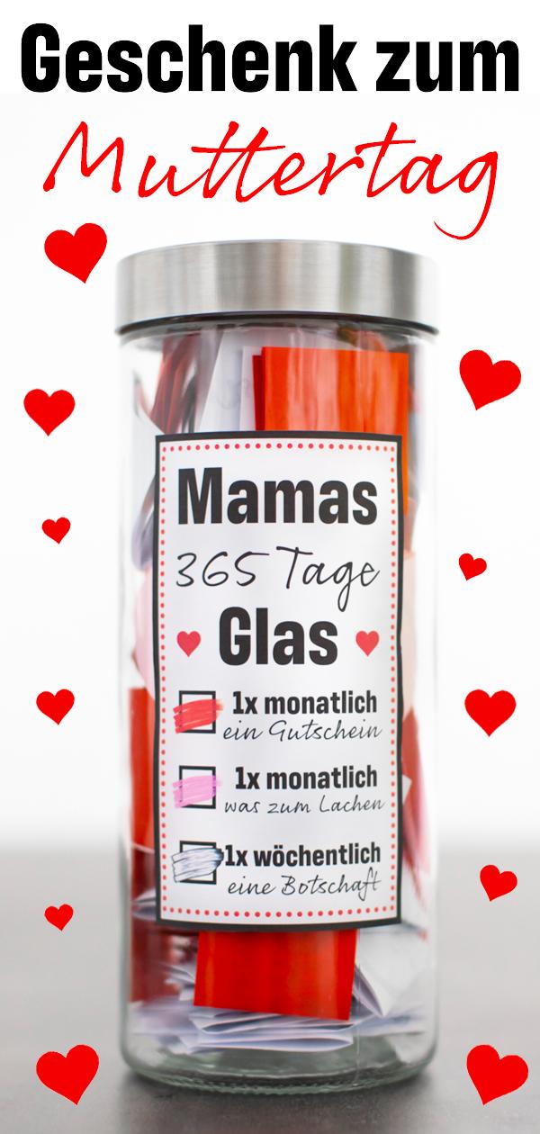 365 Tage Glas für Mama als persönliches Geschenk zum Muttertag