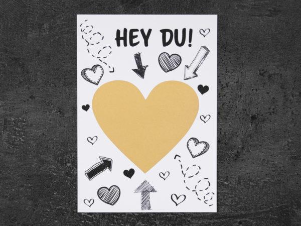 karte mit Herz Rubbelfeld mit dem text ich liebe dich